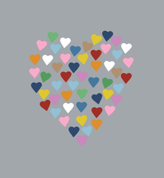 Hearts Heart Multi Grey Canvas Print