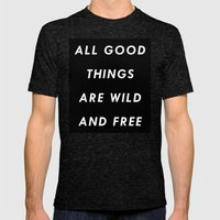 Wild & Free Mens Fitted Tee Tri-Black SMALL