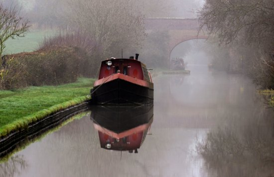 Mystical Barge on the Canal Art Print