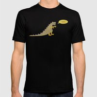 Not a very scary dinosaur Mens Fitted Tee Black SMALL