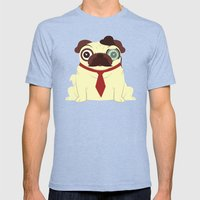 Pug In A Hat Mens Fitted Tee Tri-Blue SMALL