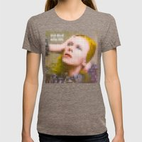 Bowie : Hunky Dory Pixel Album Cover Womens Fitted Tee Tri-Coffee SMALL