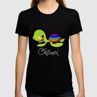 Chillaxin' Turtle Womens Fitted Tee Black SMALL