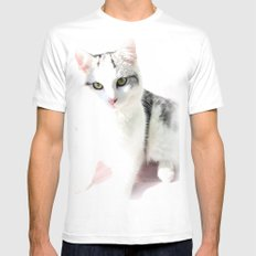 Cloud Cat White Mens Fitted Tee SMALL