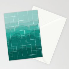 Broke Ombre Mountain - Teal Stationery Cards
