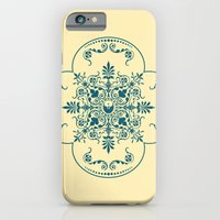 iPhone & iPod Case featuring Decorative Pattern in Creme and Blue by Jon Hernandez