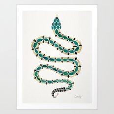 Emerald & Gold Serpent Art Print