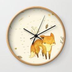 Lonely Winter Fox Wall Clock