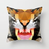 Throw Pillow featuring Tiger - Geo by Three Of The Possess…