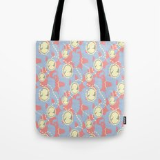 Cameo & Trailing Hair // Blue & Apricot pastels. Tote Bag
