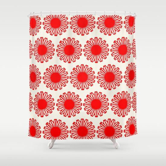 Vintage Flower-Red Shower Curtain