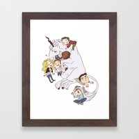 Teens And Wolves And Uni… Framed Art Print