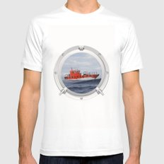 Port Hole View Mens Fitted Tee SMALL White