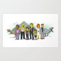 Jurassic World Simpsonized Art Print