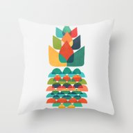 Colorful Whimsical Anana… Throw Pillow