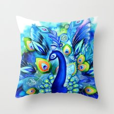 Peacock in Full Bloom Throw Pillow