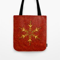 Golden Snowflake On Red … Tote Bag