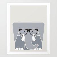 Hipster Elephant Art Pri… Art Print