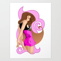 Just A Girl In Pink Art Print
