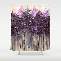NORTHWEST VIBES Colorful Watercolor Painting Forest Trees Violet Green Modern Nature Art West Coast  Shower Curtain