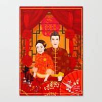 Wedding Invitation design for Shen & Fei (traditional Chinese wedding themed) Canvas Print