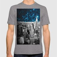 Starry Teal Night Mens Fitted Tee Tri-Grey SMALL