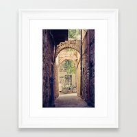 Jerusalem Alley with Bicycle Framed Art Print
