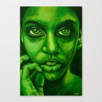 Don't Panic! Green Canvas Print