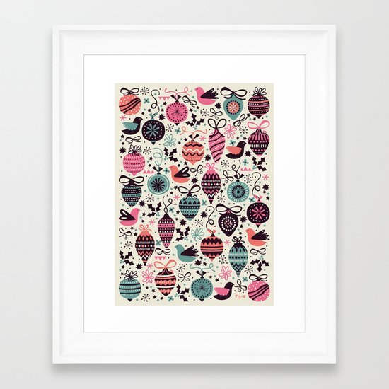 Birds and Baubles  Framed Art Print