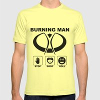 Burning Man - Stop Drop Roll Mens Fitted Tee Lemon SMALL