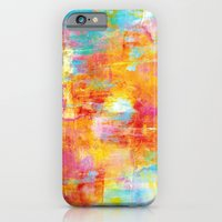OFF THE GRID Colorful Pastel Neon Abstract Watercolor Acrylic Textural Art Painting Nature Rainbow  iPhone 6 Slim Case