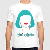 Teal Ambition Mens Fitted Tee White SMALL