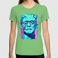 Frankenstein Halloween Zombie Womens Fitted Tee Grass SMALL