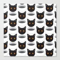 Cat Face & Bowl Canvas Print