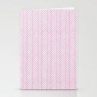 Herringbone Pink Stationery Cards