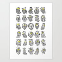 Sleepy Owls Art Print