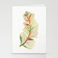 feather Stationery Cards featuring Feather by Klara Acel