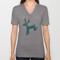 Reindeer-Teal Unisex V-Neck