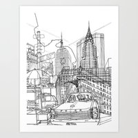 New York B&W (Dark T-shirt Version) Art Print