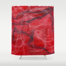 Red and Smoke Shower Curtain