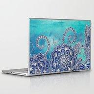 Mermaid's Garden - Navy … Laptop & iPad Skin