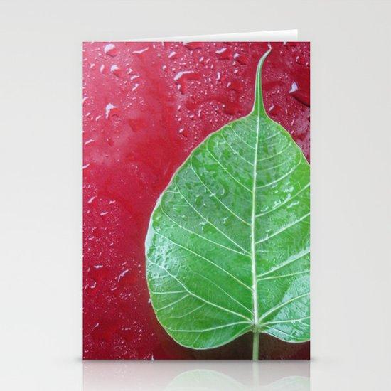 Leaf on red Stationery Card