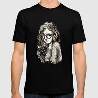 Girl With Glasses Mens Fitted Tee Black SMALL
