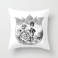 Floral Society Greeting Throw Pillow