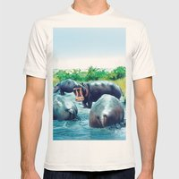 Hippos Mens Fitted Tee Natural SMALL