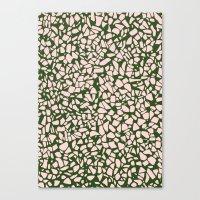 Stone Pattern - Salmon Pink & Olive Green Canvas Print