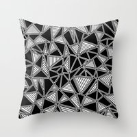 Abstract Outline Lines Black Throw Pillow