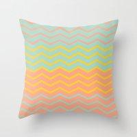 Colorful Chevron On Peac… Throw Pillow