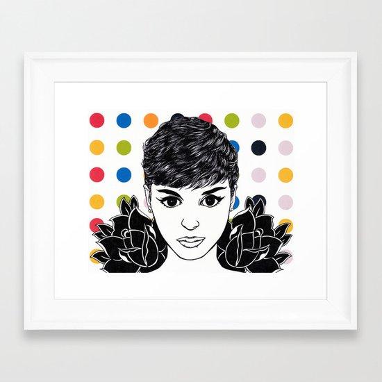 Audrey Hepburn: Mod Roses Framed Art Print