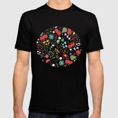 cats and flowers Mens Fitted Tee SMALL Black